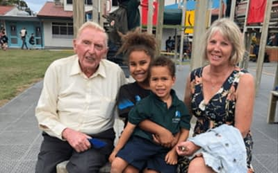 Great-grandchildren learn to save